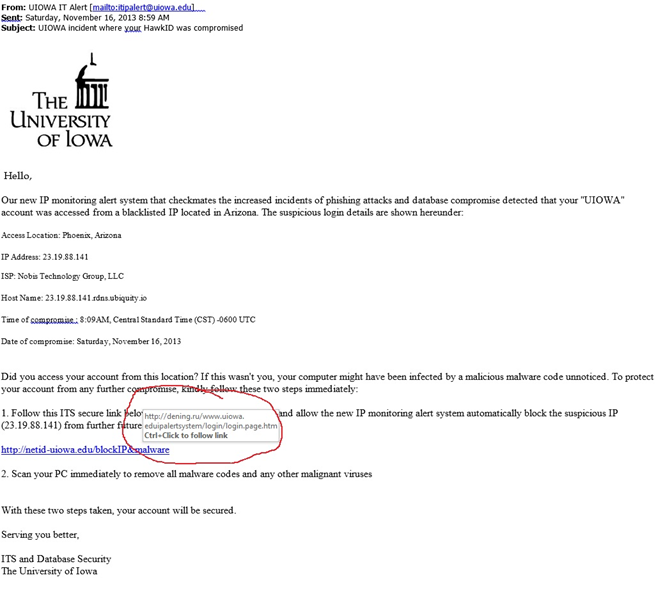 Fraudulent Emails Claiming To Be From University