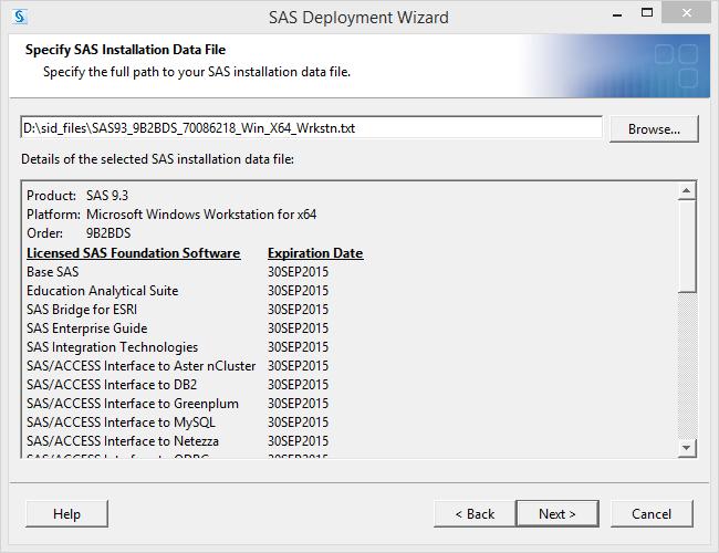 SAS 9.3 Installation Data File