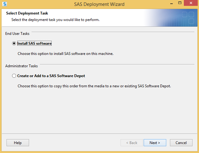 Install SAS software bubble filled in