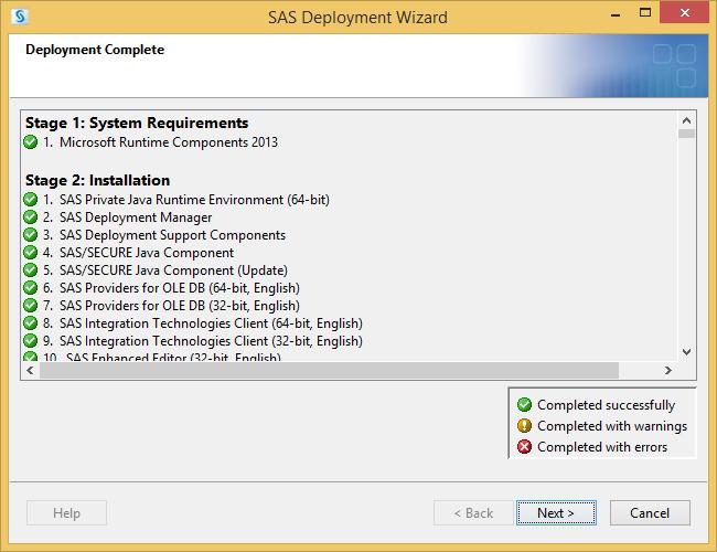 SAS Deployment Wizard Complete