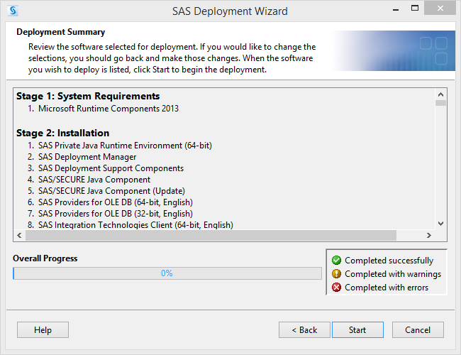 SAS Deployment Wizard Summary