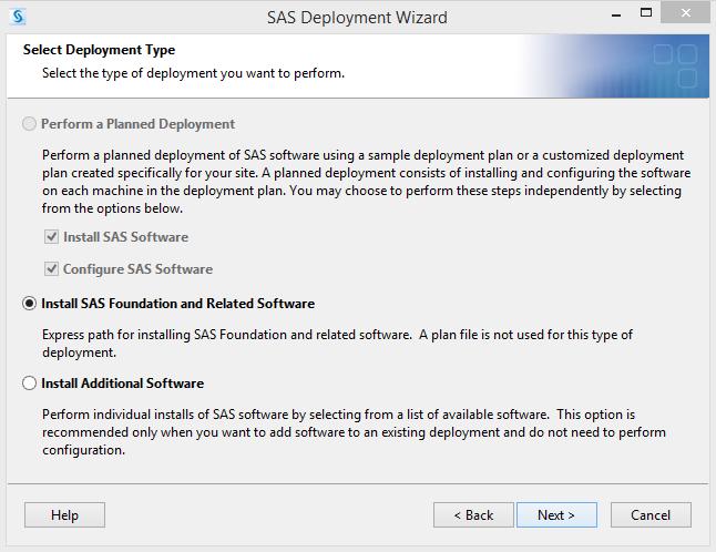 SAS 9.4 Select Deployment Type