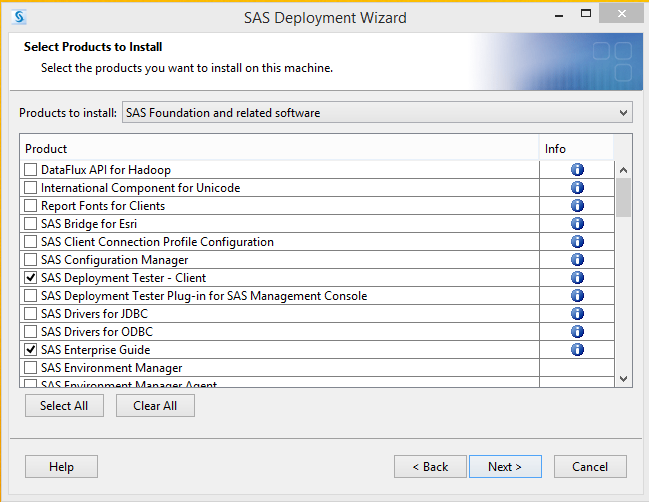 SAS 9.4 Select Products to Install