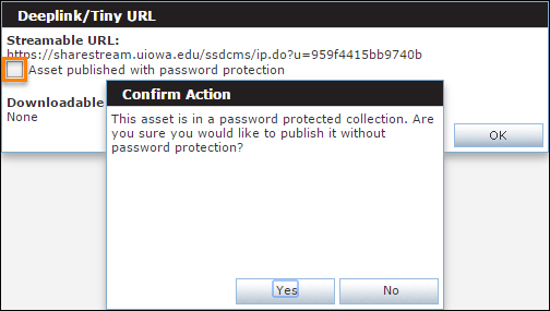 Highlighted - Asset published with password protection Checkbox