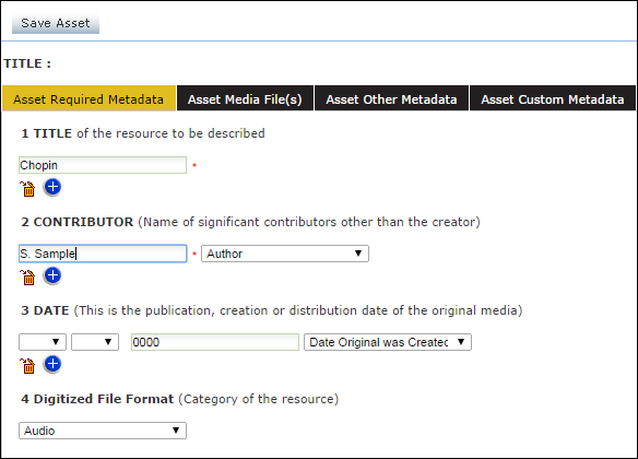 Asset Required Metadata Window