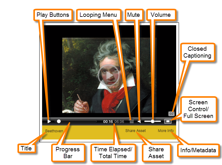 Highlighted - Pick-n-Play Media Player controls: Play Button, Looping Menu, Mute, Volume, Closed Captioning, Title, Progress Bar, Time Elapsed/Total Time, Share Asset, Info/Metadata and Screen Control/Full Screen