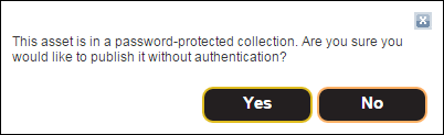 Password Protection Confirmation Window