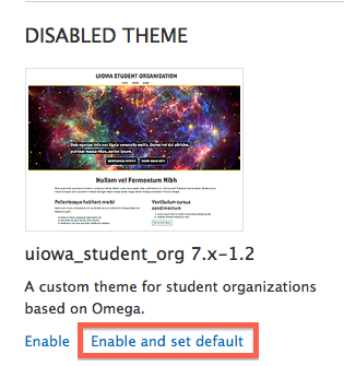 Enable and set as default a disabled theme