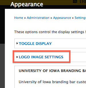 "The ""Logo Image Settings"" section heading"