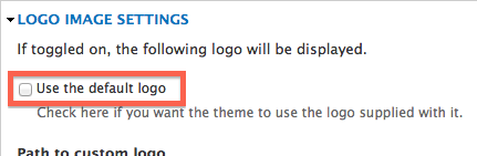 "Un-checked ""use the default logo"" field"