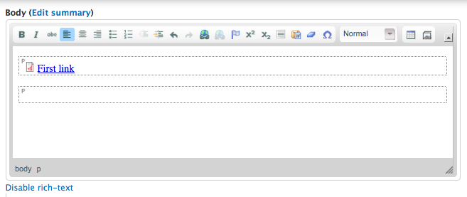 One link in the WYSIWYG