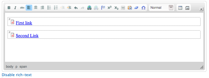 Two links to documents in the WYSIWYG