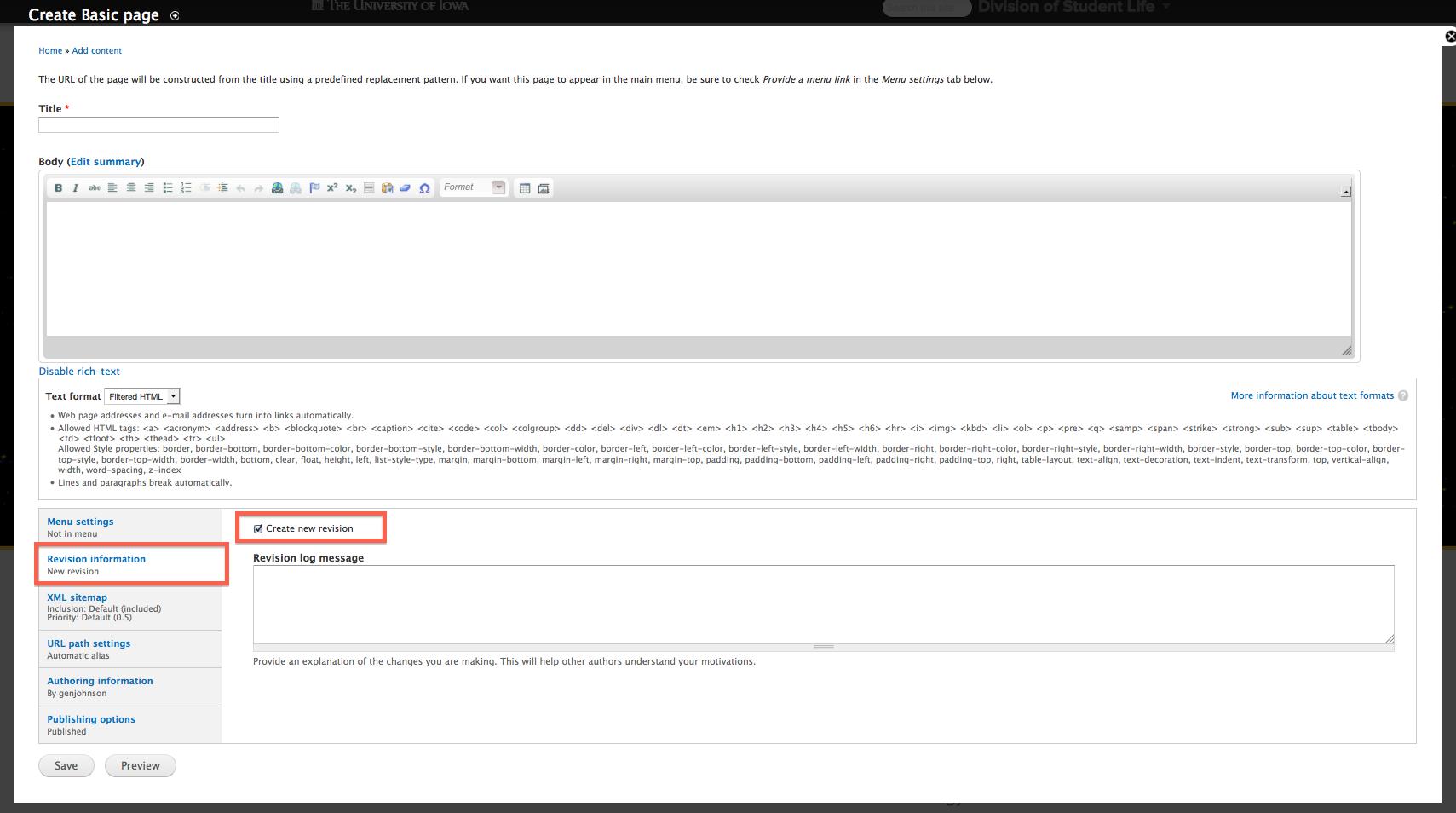 Create new revision checkbox