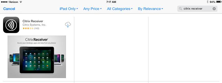 Citrix Receiver in App Store