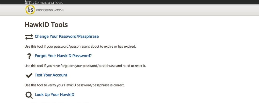 Password change tool screen shot