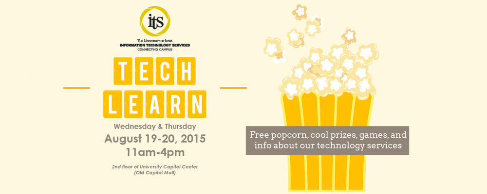 Tech Learn popcorn event poster