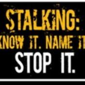 stalking. know it. name it. stop it. graphic