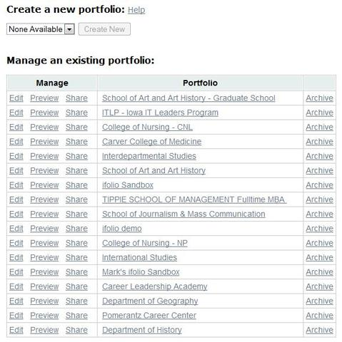 create a new portfolio or manage an existing one