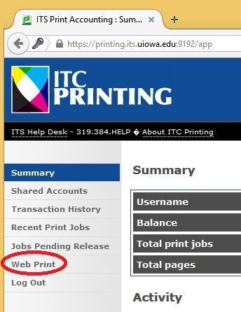 red circle around web print tab