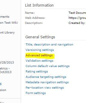highlighted - Advanced settings