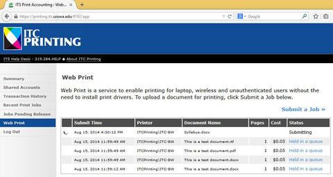 PaperCut Status Page