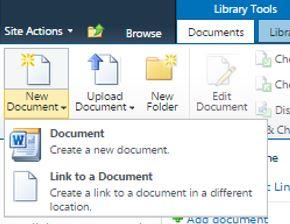 highlighted - New Document drop down menu