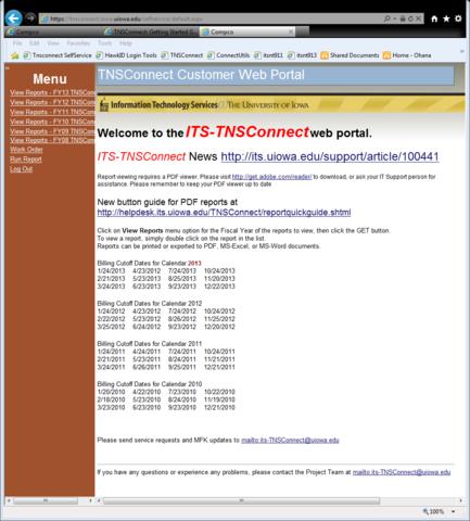 TNSConnect Customer Web Portal