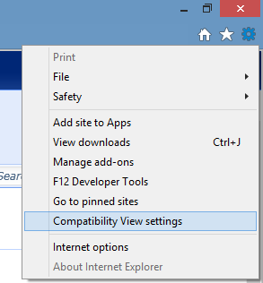 drop down menu. highlighted - compatibility view settings