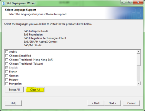 SAS Deployment Wizard. Select Language Support. Highlighted - Clear All button.