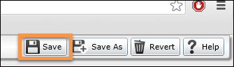 highlighted - save button