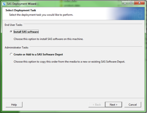 SAS Deployment Wizard. Select Deployment Task. Install SAS software bubbled in.