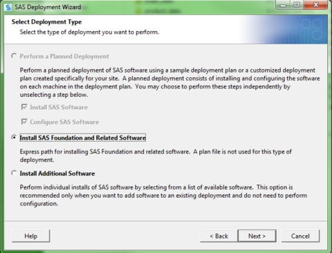 SAS Deployment Wizard. Install SAS Foundation and Related Software bubble marked.