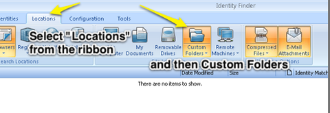 "select ""locations"" from the ribbon and then custom folders"