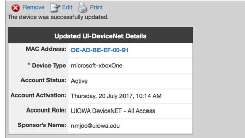 UI-DeviceNet Manage Devices Receipt