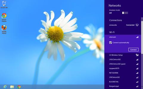 list of wireless networks eduroam selected