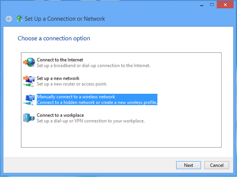 select manually connect to a wireless network