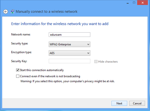 Enter information for the wireless network you want to add