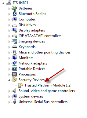 arrow pointing to Trusted Platform Module 1.2