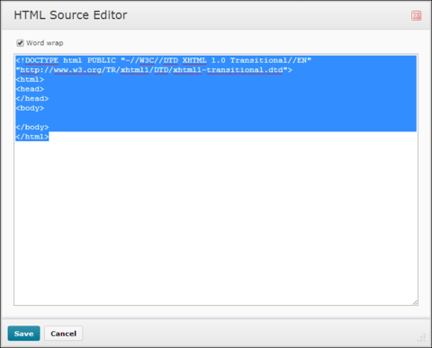 HTML Source Editor. Word wrap check marked.