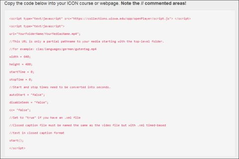 Copy the code below into your ICON course or webpage. Note the // commented areas!