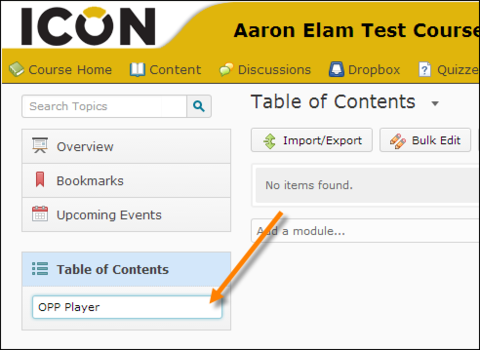 orange arrow pointing to Table of Contents box: OPP Player