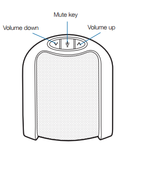 speaker labeled for volume down, mute key, and volume down button