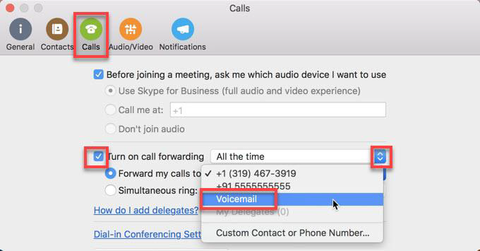 WHere to go in Calls menu to turn on call forwarding for voicemail