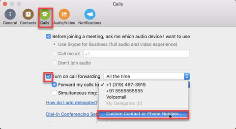 Menu in Calls for choosing a custom contact to forward calls to