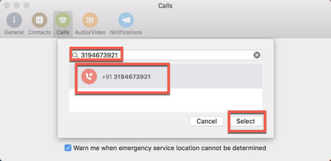 Selecting the custom number to forward calls to