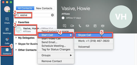 Menu showing where to select Skype call in contacts