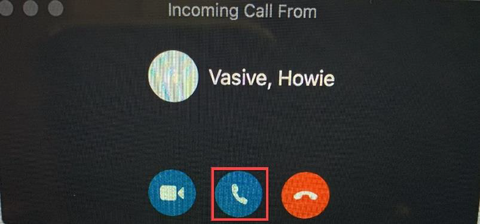 Middle button in Skype to receive a call