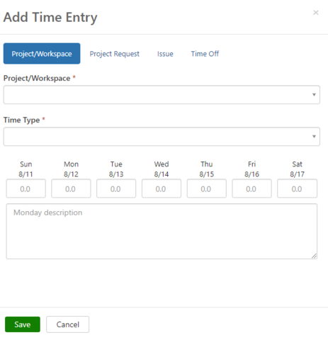 Shows the necessary fields to fill out when adding time for a project when you're not on a task