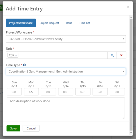 Add time entry form with the time type, day/time worked, and description of work done filled out