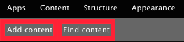 The Add content and Find content buttons